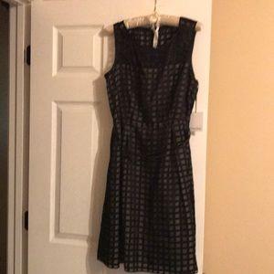 NWT 12 Black Calvin Klein Sheer Yet Lined Dress